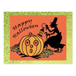 Postal del diseño de Halloween del vintage