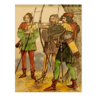 Postal del diseño del vintage de Robin Hood