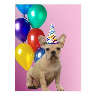 Postal del dogo francés del feliz cumpleaños