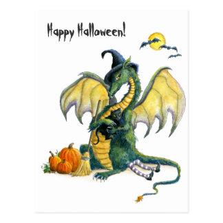 Postal del dragón de Halloween