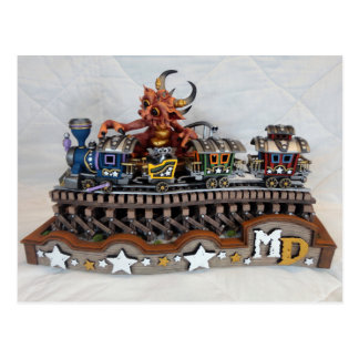 Postal del dragón del tren del juguete del MD