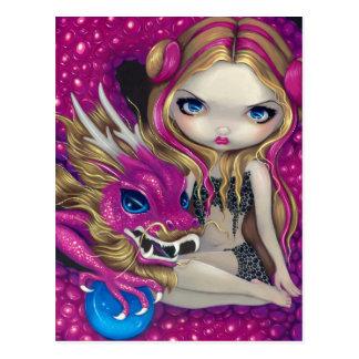 Postal del dragón rosado brillante