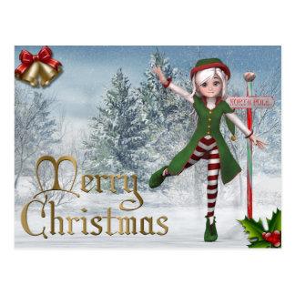 Postal del duende de Sadie de las Felices Navidad