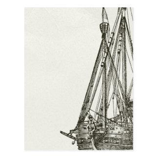 Postal del ejemplo del barco pirata del vintage