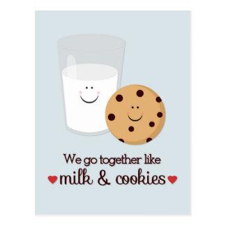 Postal del el día de San Valentín de la leche y de