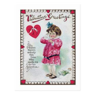 Postal del el día de San Valentín del vintage p p