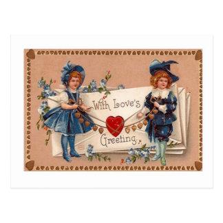 Postal del el día de San Valentín del vintage, pas