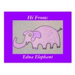 Postal del elefante de Edna