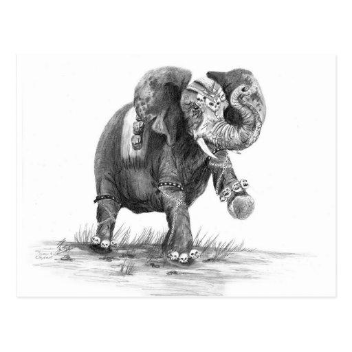 Postal del elefante de la guerra