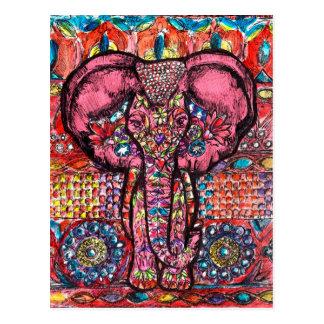 Postal del elefante de la India