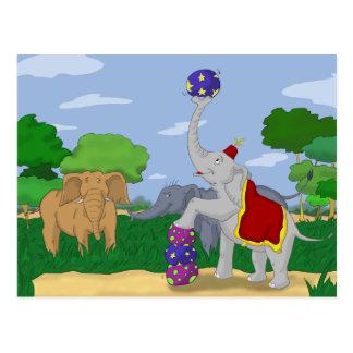 Postal del elefante del circo del paria