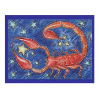 Postal del escorpión del zodiaco