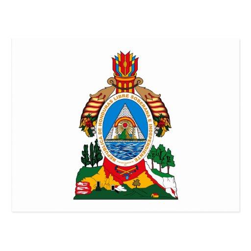 Postal del escudo de armas de Honduras