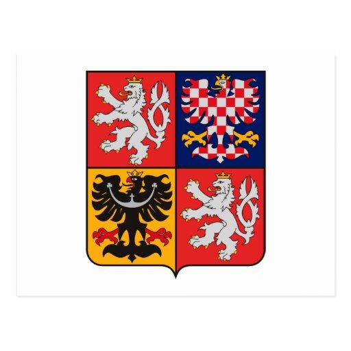Postal del escudo de armas de la República Checa