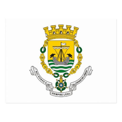 Postal del escudo de armas de Lisboa