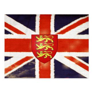 Postal del escudo de armas de Union Jack del