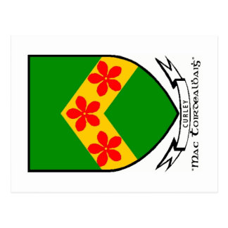 Postal del escudo de armas del apellido de Curley