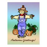Postal del espantapájaros de los saludos del otoño
