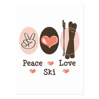 Postal del esquí del amor de la paz