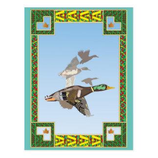 Postal del estilo del vintage de patos en vuelo.