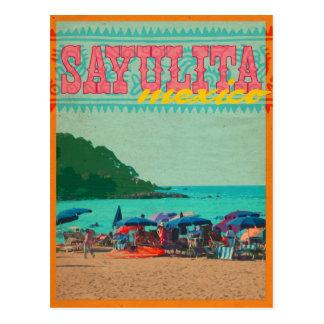 Postal del estilo del vintage de Sayulita México