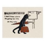 Postal del estilo del vintage del gato negro que v