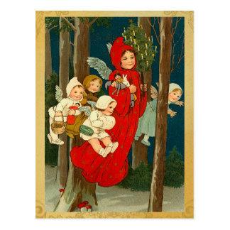 Postal del Faerie del navidad del vintage