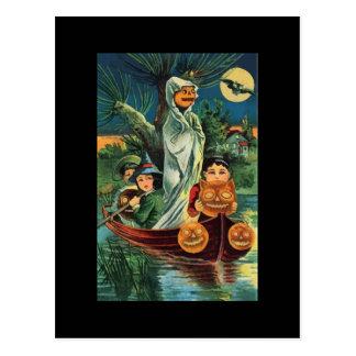 Postal del fantasma de la calabaza de Halloween de
