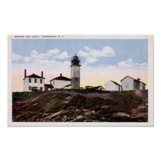Postal del faro de Beavertail Póster