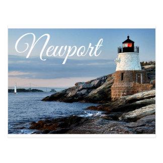 Postal del faro de la puesta del sol de Newport Rh
