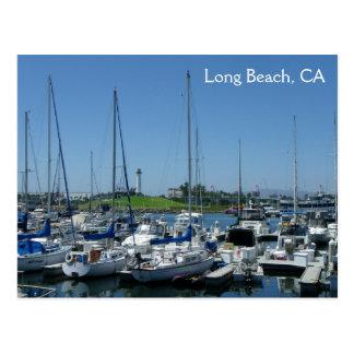 ¡Postal del faro de Long Beach y de los barcos de Tarjeta Postal