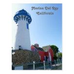 ¡Postal del faro de Marina Del Rey! Tarjetas Postales