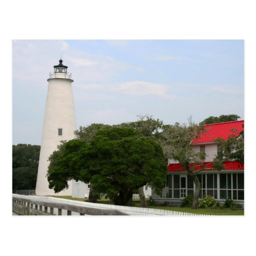 Postal del faro de Ocracoke