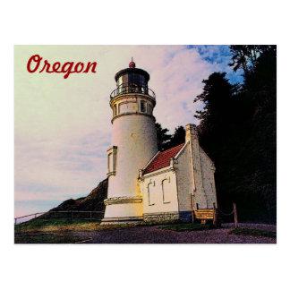 Postal del faro de Oregon