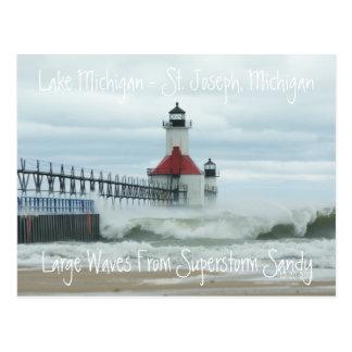 Postal del faro de Sandy el lago Michigan del Supe