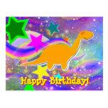 Postal del feliz cumpleaños de las estrellas y de
