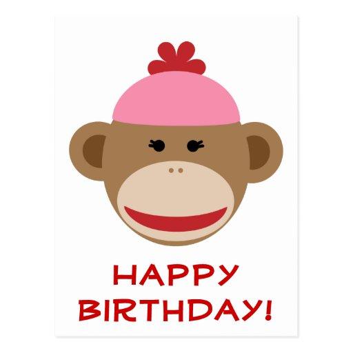 postal del feliz cumpleaños del mono del calcetín