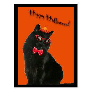 Postal del feliz Halloween del gato negro