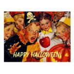 Postal del fiesta de Halloween del vintage