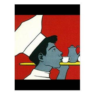 Postal del fiesta del camarero del té de tarde del
