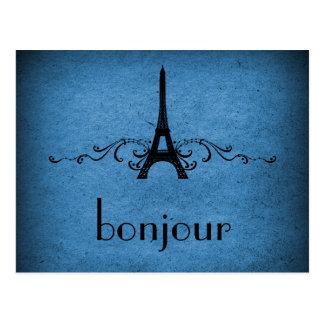 Postal del Flourish del francés del vintage, azul