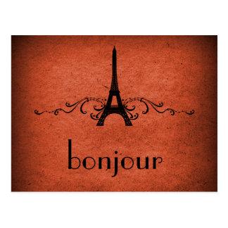 Postal del Flourish del francés del vintage, naran