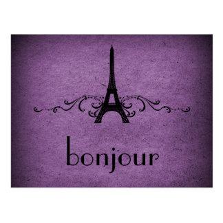 Postal del Flourish del francés del vintage, púrpu