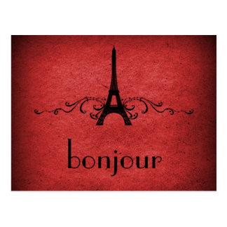 Postal del Flourish del francés del vintage, roja