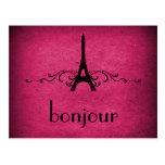 Postal del Flourish del francés del vintage, rosad