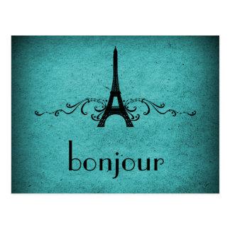 Postal del Flourish del francés del vintage, trull