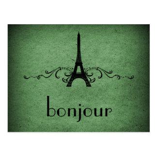 Postal del Flourish del francés del vintage, verde