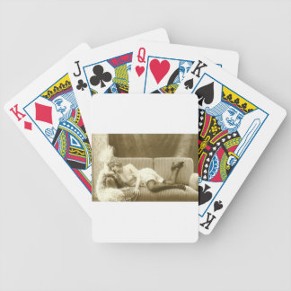 postal del francés del nudie baraja de cartas bicycle