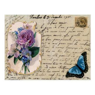 Postal del francés del vintage