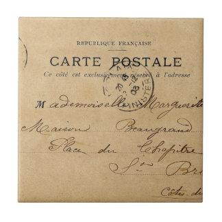 Postal del francés del vintage azulejo cuadrado pequeño